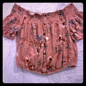 Pink floral crop top